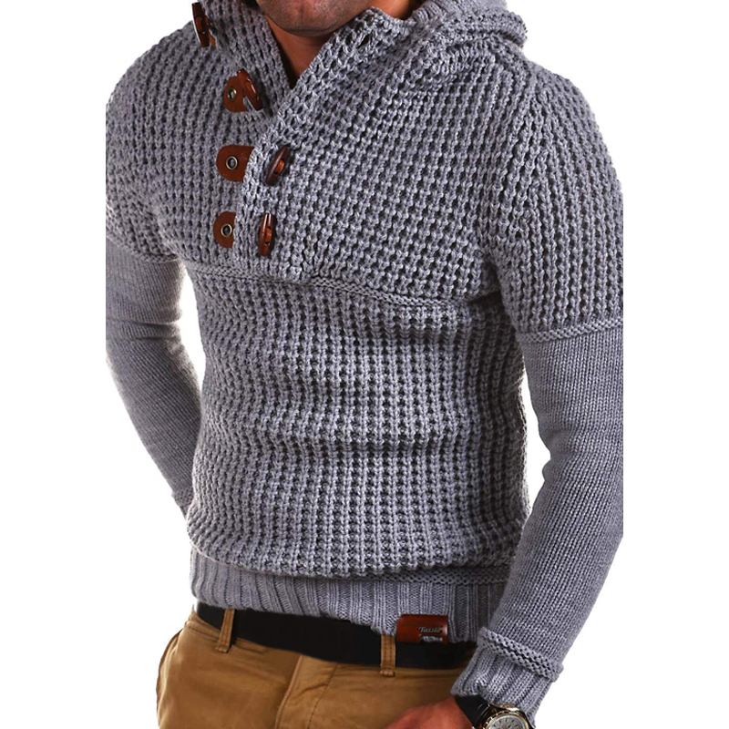 Men Sweater Wool Top Autumn Winter Hooded Sweater Buckle Hollow Out Pullovers Solid Nylon Coat