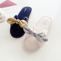 Home Slippers Women Shoes Glossy Ladies Indoor Shoes Blue Pink Slides Summer Fashion Bow Tie Shoes Comfortable Women Footwear