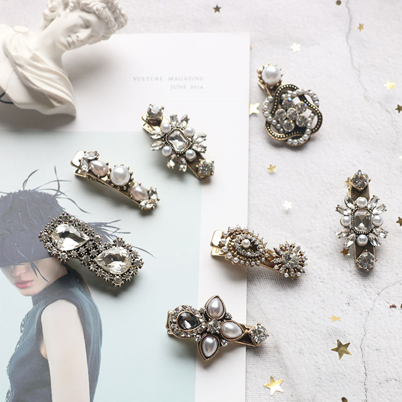 HZ 2019 Vintage Baroque Crystal Rhinestone Exquisite Pearls Palace Hair Clip Barrettes Hair Pins Hair Accessories For Women