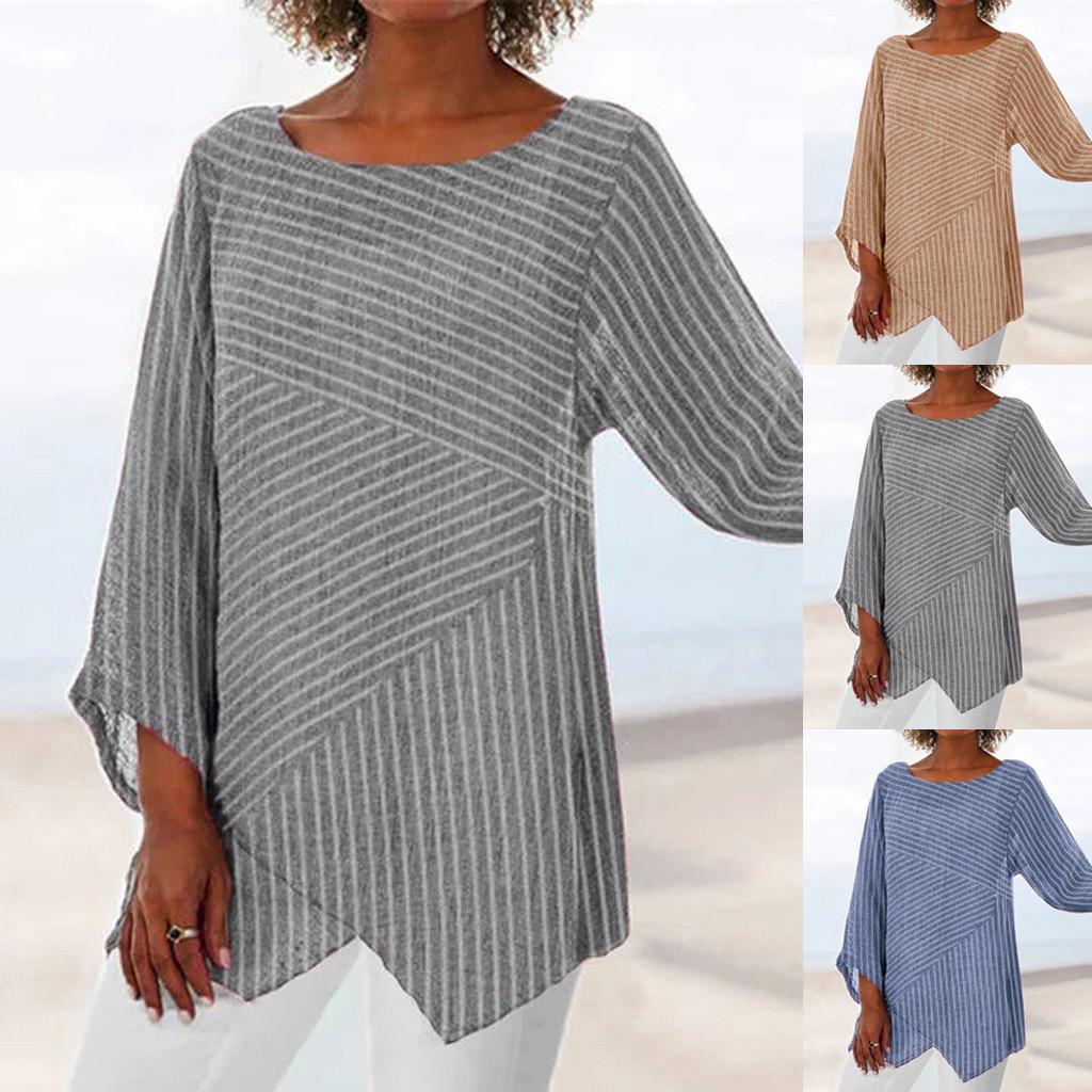 Autumn New Fashion Women Plus Size Striped Long Sleeve Linen Baggy Blouse Shirt Ladies Summer Tunic Tops рубашка женская Z4