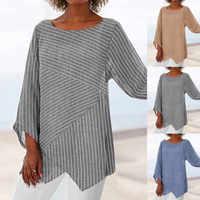 Otoño nueva moda mujer talla grande rayas manga larga Lino holgado blusa camisa señoras verano túnica Tops рубашка Z4