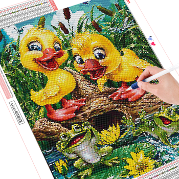 HUACAN 5D Diamond Embroidery Cross Stitch Duck Full Square Round Painting Animal Mosaic Home Decor
