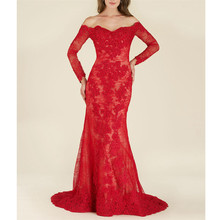 Fascinating Red Lace Vestidos De Fiesta De Noche Full Sleeves Sheath Off The Shoulder Appliques Full-Length Mother Of The Bride(China)