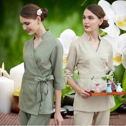 SPA Workwear Overalls Spring / Autumn Beige Massage Work Uniform Sets Female Hospital Nurse Uniforms Wholesales Beauty Clothing