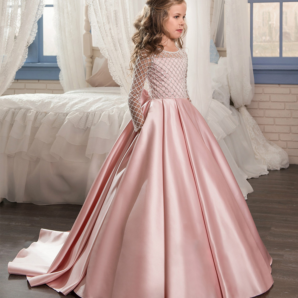 Pink 2019 Flower Girl Dresses For Weddings Ball Gown Long Sleeves Lace Bow Long First Communion Dresses For Little Girls