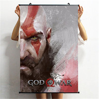 God of War Kratos Poster Decorative Painting Cloth Scroll Painting Bedroom Wall Hangings Action Figure Model X2307