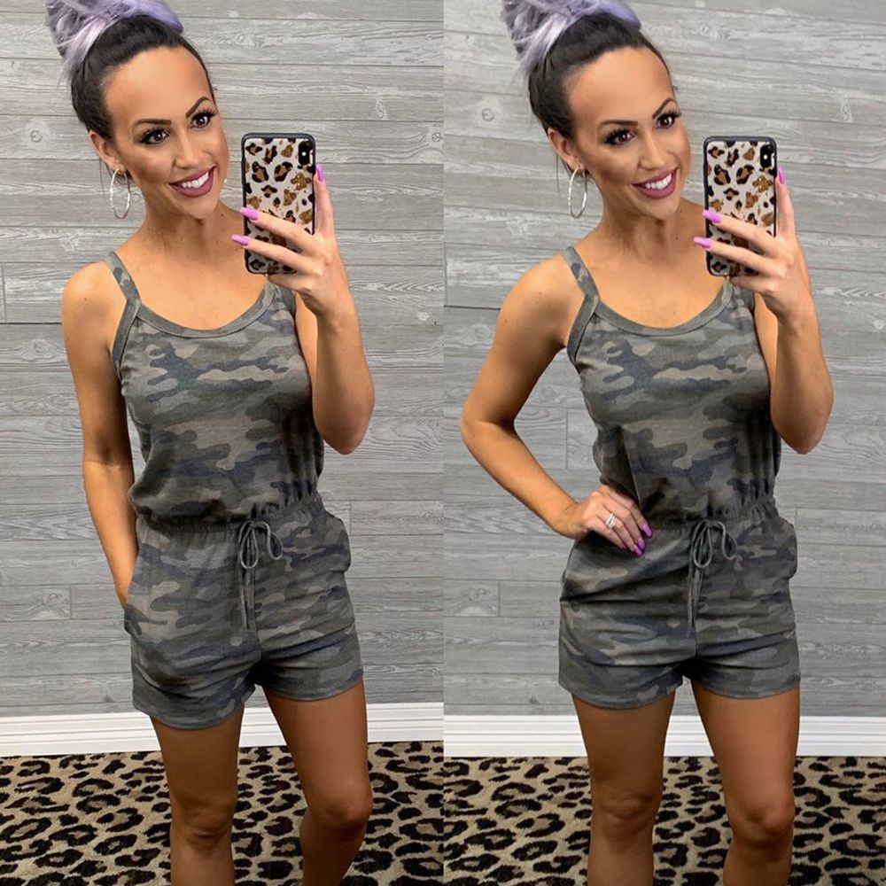 Camouflage Print Spaghetti Strap Sleeveless Tunic Rompers Womens Short Jumpsuit Summer Clothes Overalls Camo Playsuit Streetwear