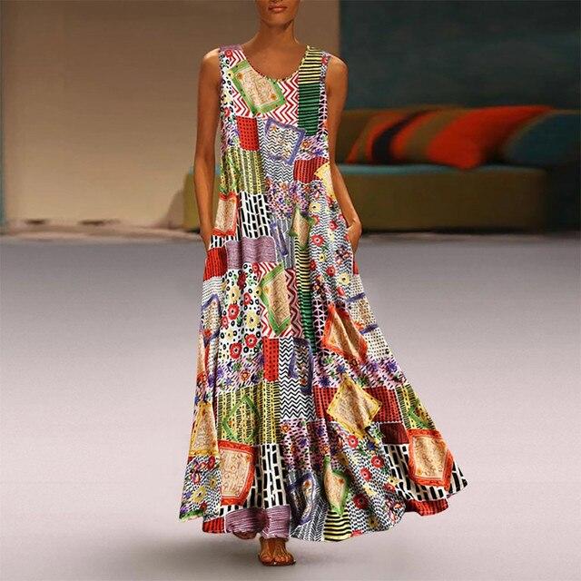 floral quilt patterned maxi dress Vintage O-Neck  1