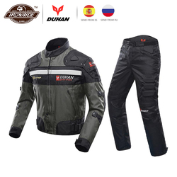 Duhan Winddicht Motorsport Pak Beschermende Kleding Armor Motorjas + Motorfiets Broek Hip Protector Moto Kleding Set