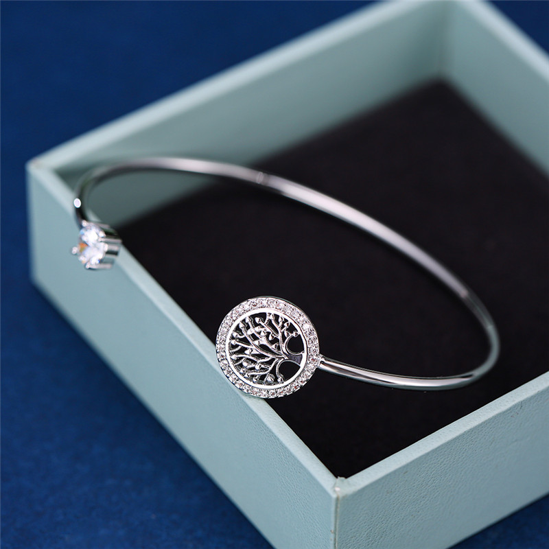 Luxury Female White Zircon Stone Bracelet Tree Of Life Adjustable Bracelets For Women Cute Silver Color Wedding Bracelet