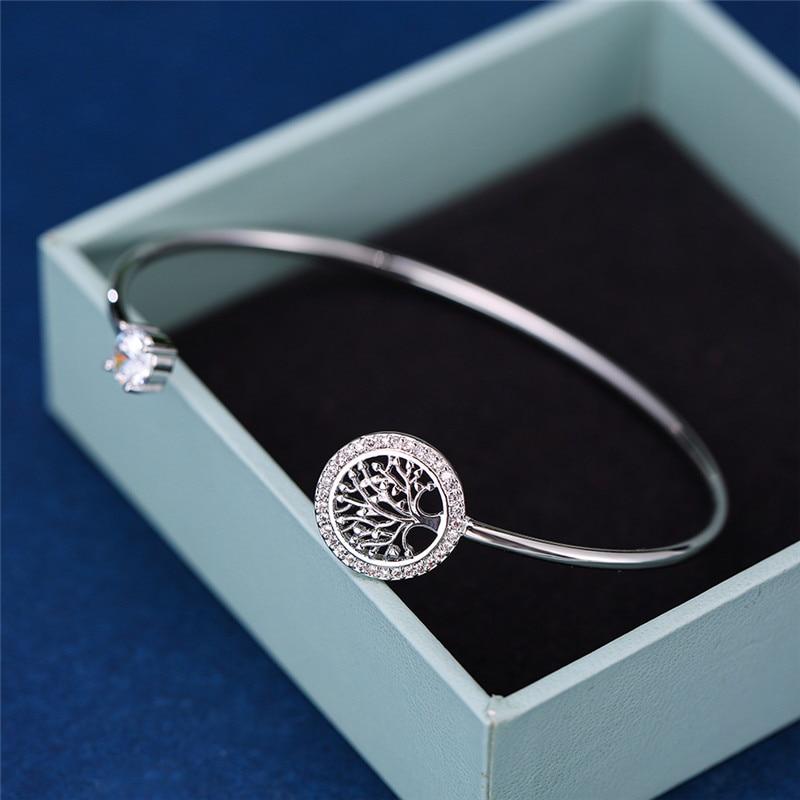 Luxury Female White Zircon Stone Bracelet Tree Of Life Adjustable Bracelets For Women Cute Silver Color Wedding Bracelet