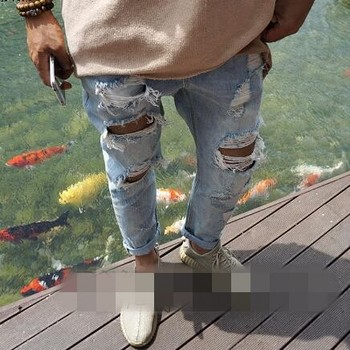 Korean version of Mens new summer beggar hole do old straight fashion casual jeans personality slim jiufen pants