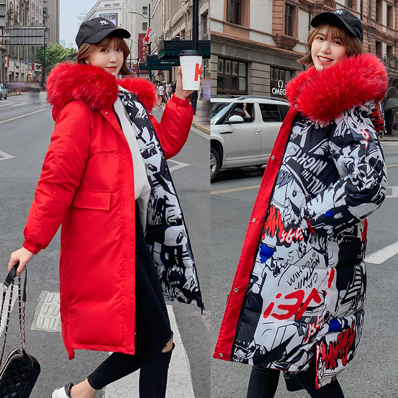Porter des deux côtés Parkas femmes hiver manteau 2019 Cool chaud pardessus grande poche Long Parkas manteau veste femmes lâche épaissir manteau
