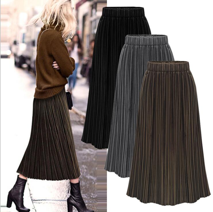 Spring And Autumn Lady Women Clothing Plus-Size Casual Elastic Waist Pleuche  Pleated Skirts  X012