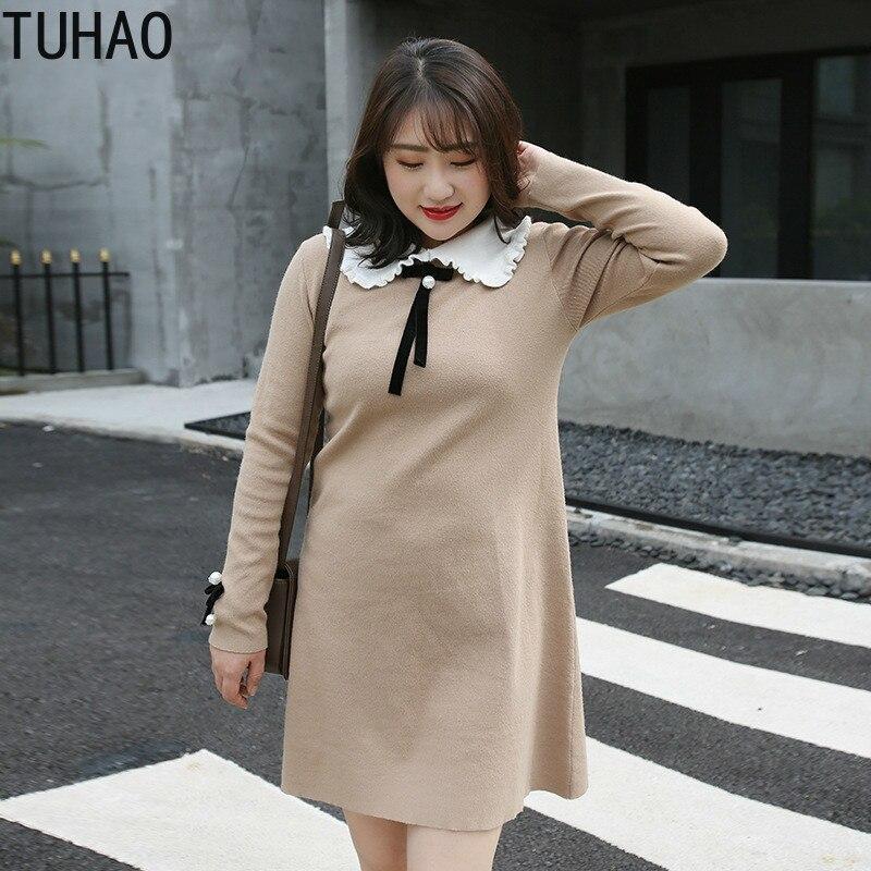 TUHAO grande taille 3XL 2XL grande taille 2019 automne hiver femmes élégant arc robe à manches longues robes pour bureau dame Vestido WM73