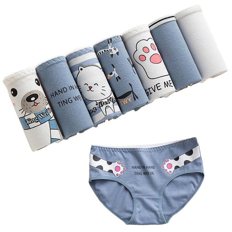 7Pcs/lot Panties Women Underwear Briefs Sexy Cotton Panties Lingeries Cueca Calcinhas Underpant Girls Cute Panty Ladies S-XXL