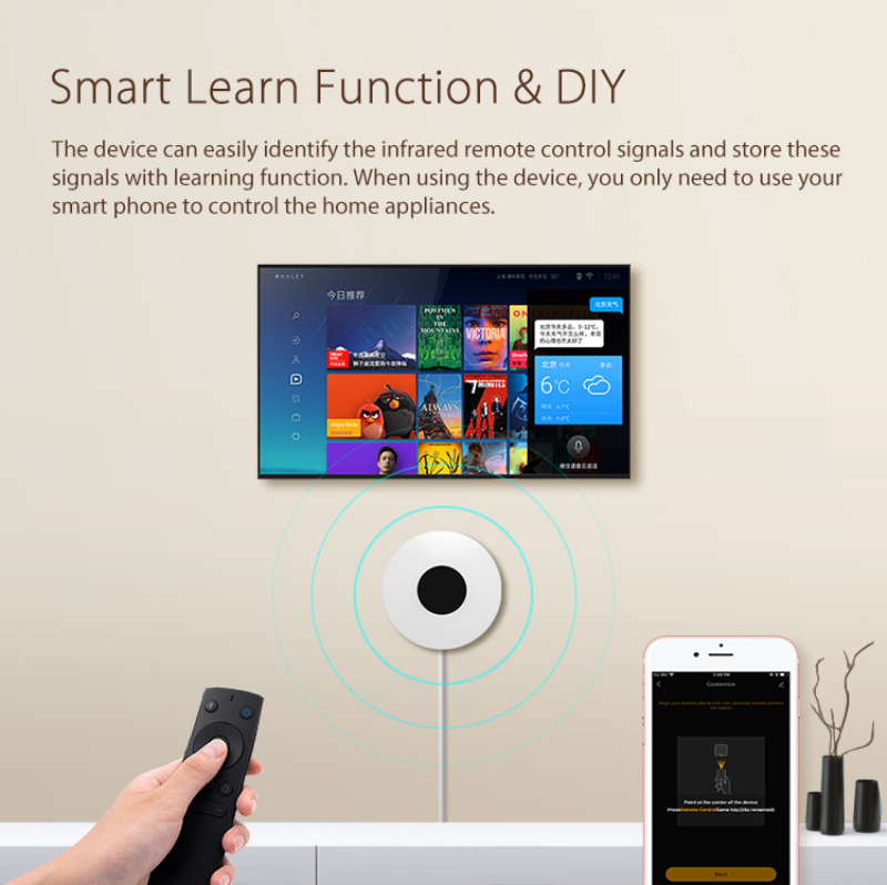 H2feeb7609f4847c5a4b96de191b1b7abY - 2020 New NEO Smart Wireless Infrared Universal Remote WiFi IR Remote Support Google Home Universal Smart Remote Controller