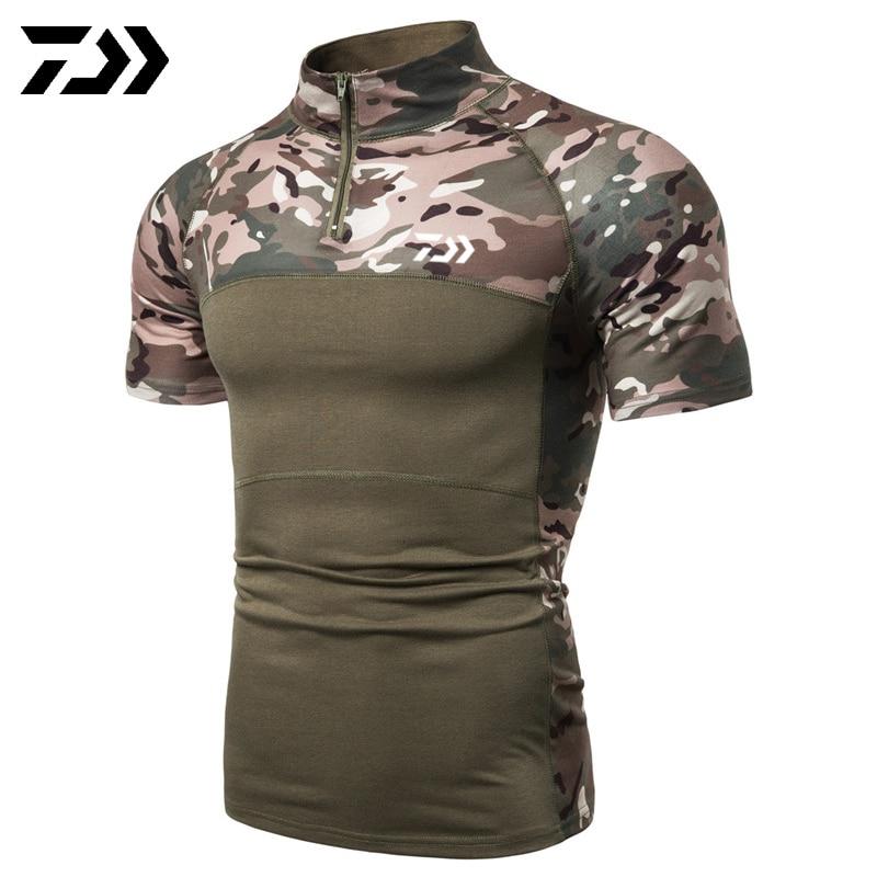 Daiwa, камуфляжная рубашка для рыбалки, футболка с коротким рукавом, мужские топы на молнии, Мужская Уличная одежда, футболка для рыбалки, Спортивная, тактическая, летняя - Цвет: Зеленый