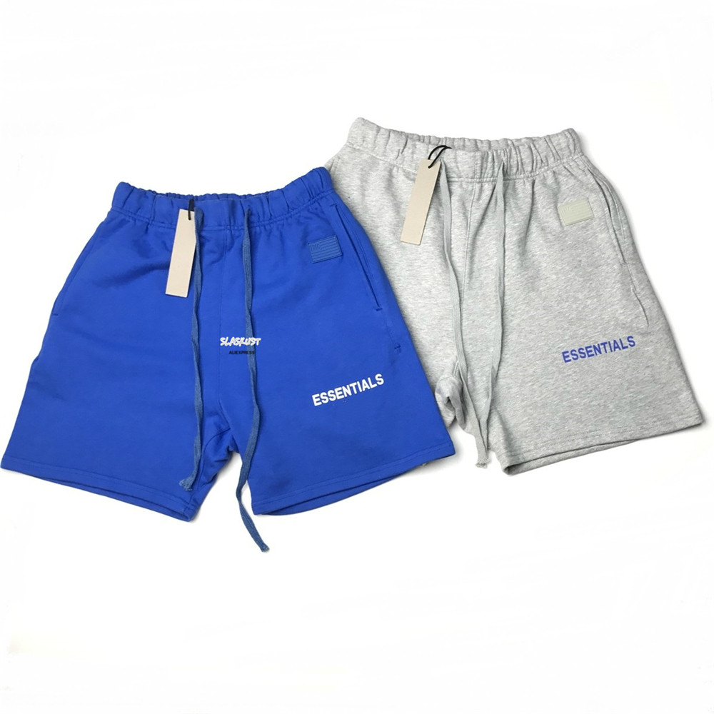Grey/Blue Reflective Logo Terry Cotton Sweat Shorts Justin Bieber Streetwear Three-pocket Styling Rubberized Patch