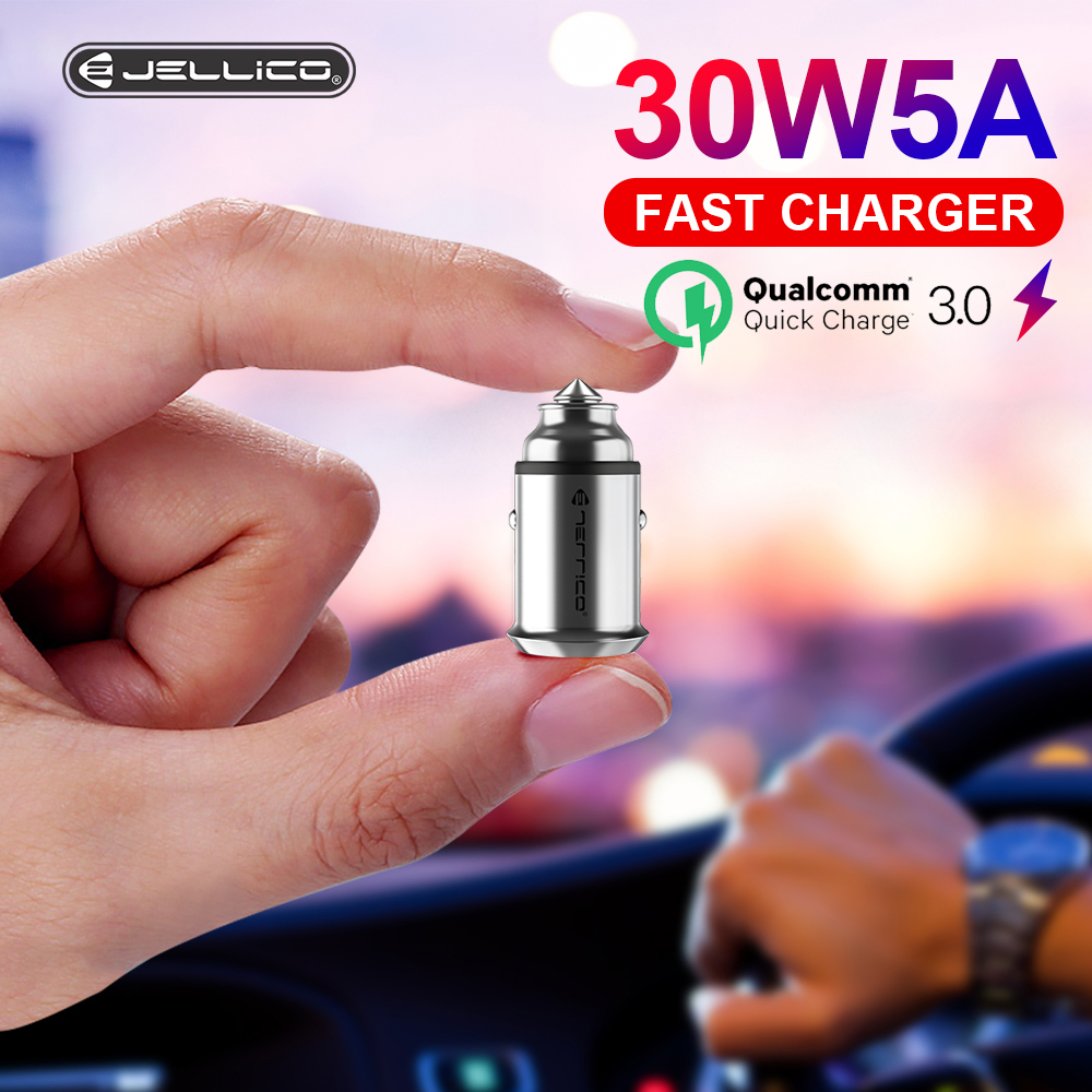 Jellico 30W Quick Charge 3.0 USB Car Charger Dual USB For Samsung <font><b>Huawei</b></font> <font><b>Supercharge</b></font> Quick Charge SCP 5A <font><b>Adapter</b></font> Car-Charger image