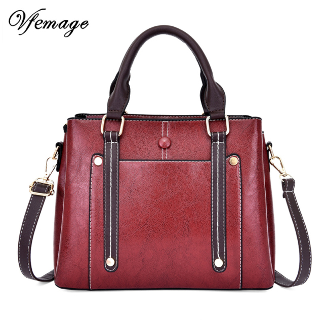 Vfemage 2019 Designer Bag Women Handbag PU Leather Female Shoulder Bag Ladies Messenger Bags Crossbody Vintage Tote Bolsa Mujer