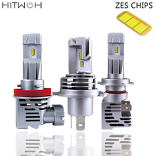 HITWH ZES Автомобильный свет H7 H11 H8 H1 HB3 9005 9006 HB4 светодиодный фары лампы 12000LM 100W 6000K 12V 24V Мини противотуманная Автомобильная фара