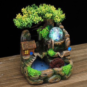 Image 4 - Led Lights Resin Rockery Flowing Water Fountain Lucky Feng Shui Wheel Office Desktop Ornaments With Nebulizer Home Decoration