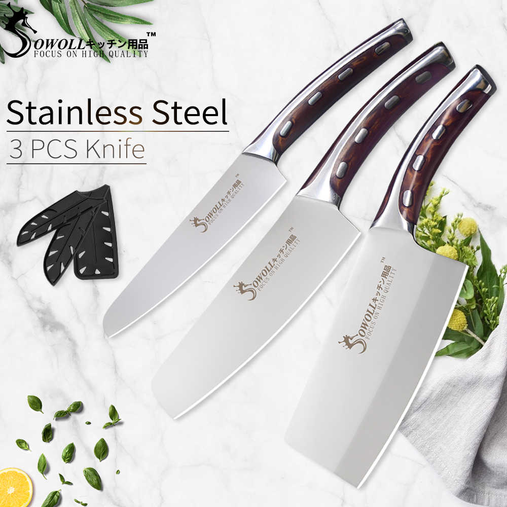 SOWOLL Seamless Welding Kitchen Knife 4CR14 Stainless Steel Knife Non-stick Chef Knife Light Weight Cooking Accessories Tools