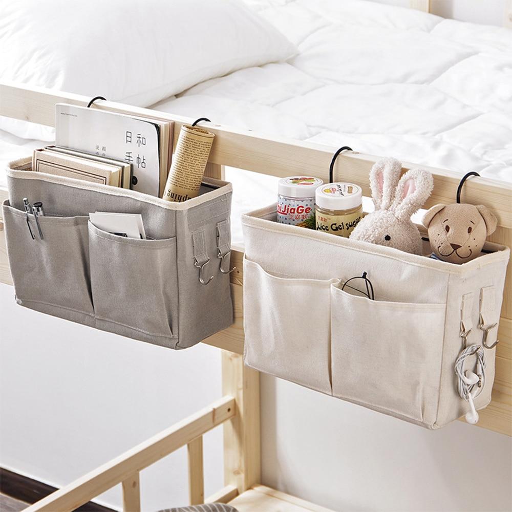 Прикроватный подвесной органайзер, карманная сумка для хранения, органайзер для гардероба, Холщовый органайзер для спальни, ванной, магази...