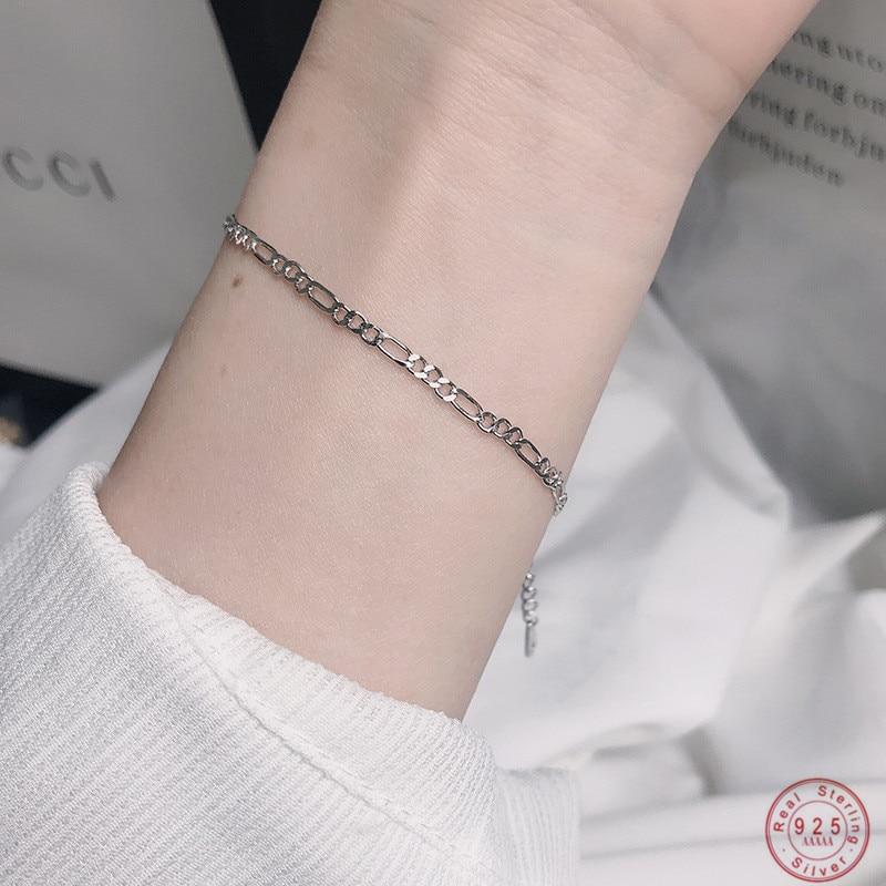 Женский браслет-цепочка из стерлингового серебра 925 пробы в Корейском стиле, повседневные ювелирные аксессуары, модный браслет