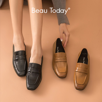 BeauToday Penny Loafers Women Genuine Cow Leather Square Toe Slip On Spring Female Casual Flat Heel Shoes Handmade 27134