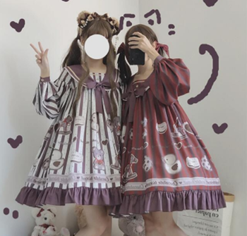 kawaii girl gothic lolita op loli Palace sweet lolita dress retro sailor collar falbala high waist cute printing victorian dress image