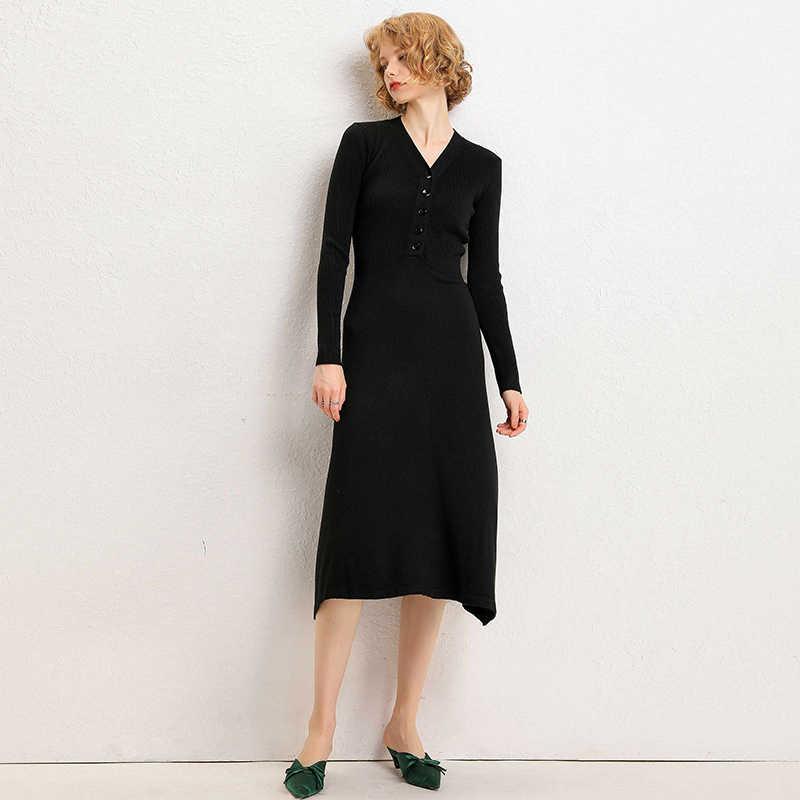 Nữ thu Đông Áo Len Dệt Kim Đầm Thun Ôm Tay Dài Cổ Chữ V Gợi Cảm Nữ Ôm Body Áo Dây Áo Vestidos