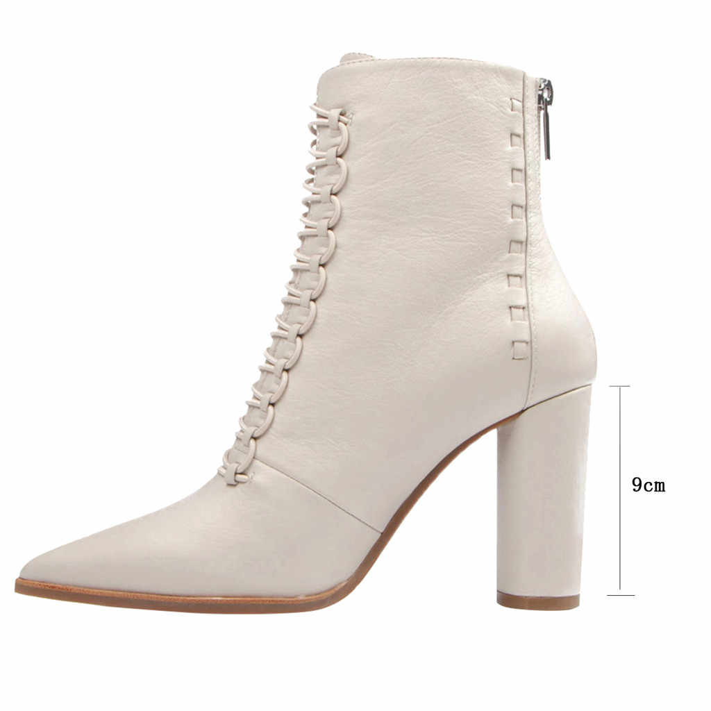 2020 serin kovboy ayakkabı kadın sivri burun yarım çizmeler bahar Lace Up fermuar rahat deri kısa çizme moda kadın yüksek topuk seksi