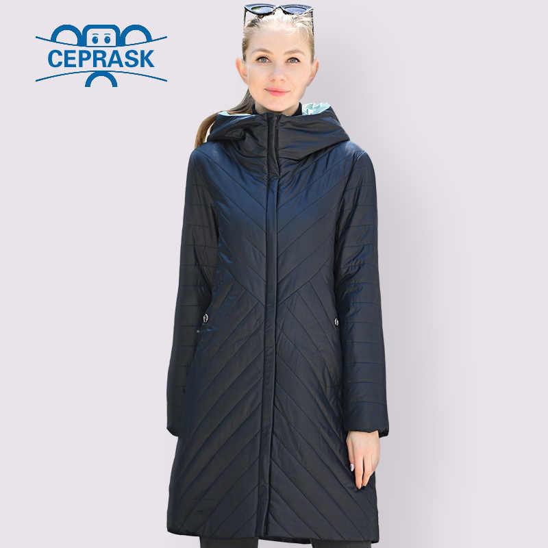 CEPRASK 2020 디자이너 봄 가을 컬렉션 여성 자켓 얇은 파카 롱 플러스 사이즈 6XL 새로운 유럽 여성 코트 따뜻한 옷