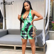 FQLWL Tie Dye Bandage Summer Sexy Rompers Womens Jumpsuit Shorts Female Ribbed B