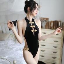Черная сексуальная униформа китайские ремни Кнопка спинки cheongsam