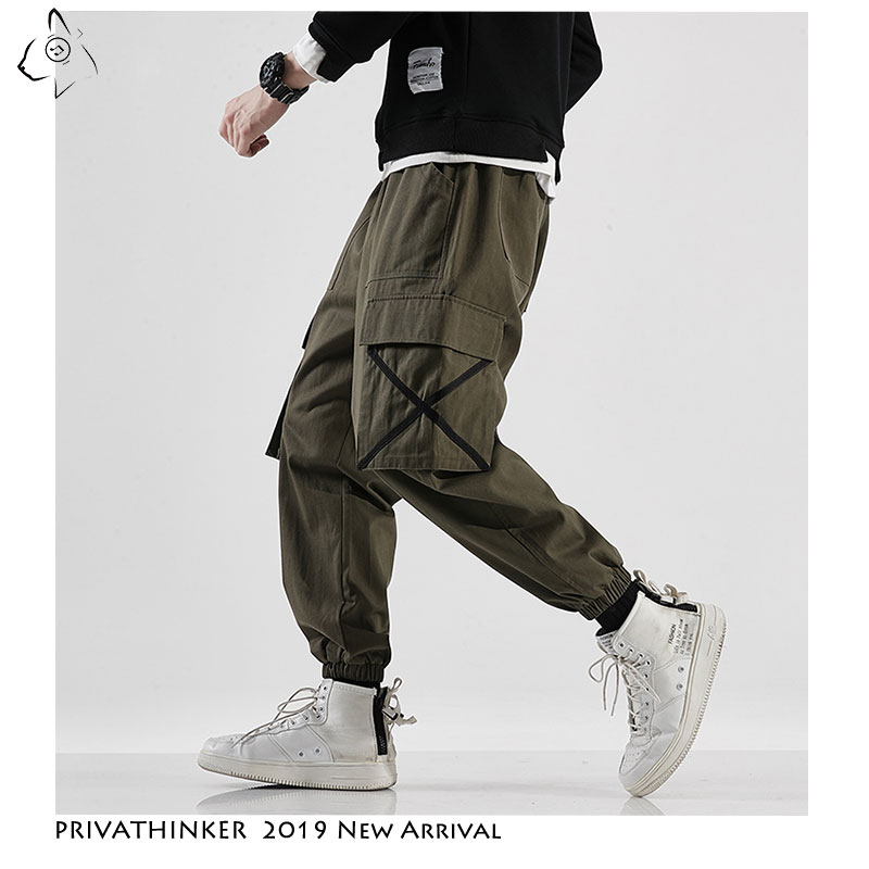 Privathinker Men Casual Army Green Cotton Cargo Pants Mens 2019 Autumn Street-Style Joggers Male Hip Hop Pockets Oversize Pants