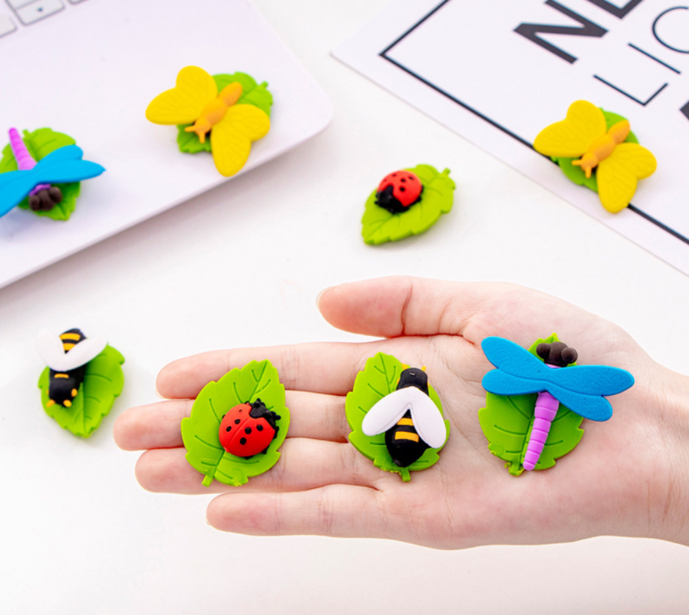4PCS Eraser Set 3d Cute Insects Buttefly Dragonfly Ladybug Bee Rubber Pencil Erasers Stationery Kids Gift School Supplies Prizes