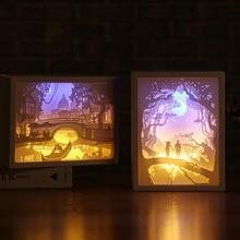 Художественное украшение 3D Бумага резьба свет лампа светодиодный подарок для дома Спальня прикроватная TSH магазин