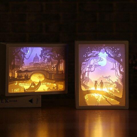 papel de arte decoracao 3d escultura lampada de luz led presente para casa de cabeceira