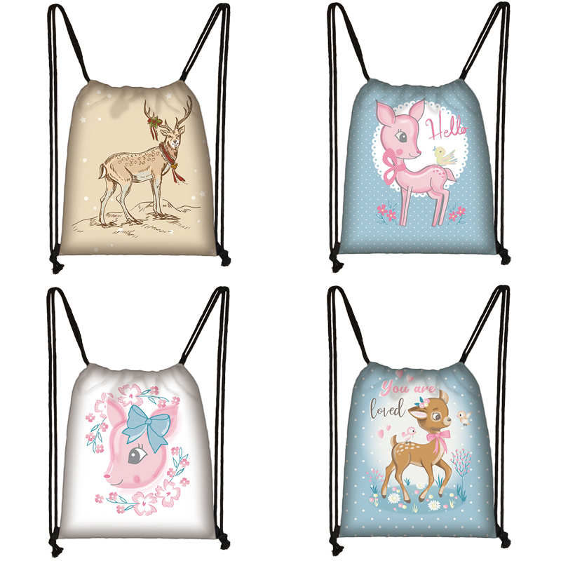 Cartoon Deer Print Drawstring Bag Women Travel Bag Teenager School Bag Brown Girl And Boy Backpack Fashion Female Storage Bags Z