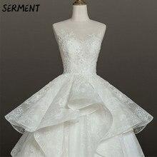 SERMENT Floral Print 2019 New Wedding Dress Lace Tail Long Sleeve Aristocratic Elegant Bride Explosion