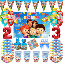 Cocomelon Theme Family Party Paper Tablecloth Paper Cups Plates Straws Supplies Cocomelon Birthday Party Decor Balloons Kids Toy
