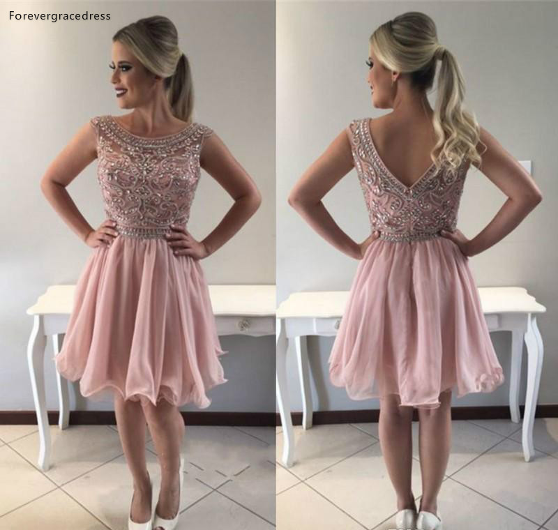 Cheap Pink A Line Homecoming Dress Rhinestones Beaded Backless Juniors Sweet 15 Graduation Cocktail Party Dress Plus Size