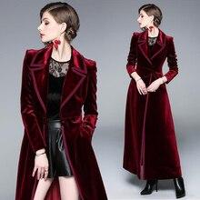 2019 Spring Autumn Burgundy Velvet X-Long Overcoat Women's Outwear Vintage Slim Thick Warm Ankle Len