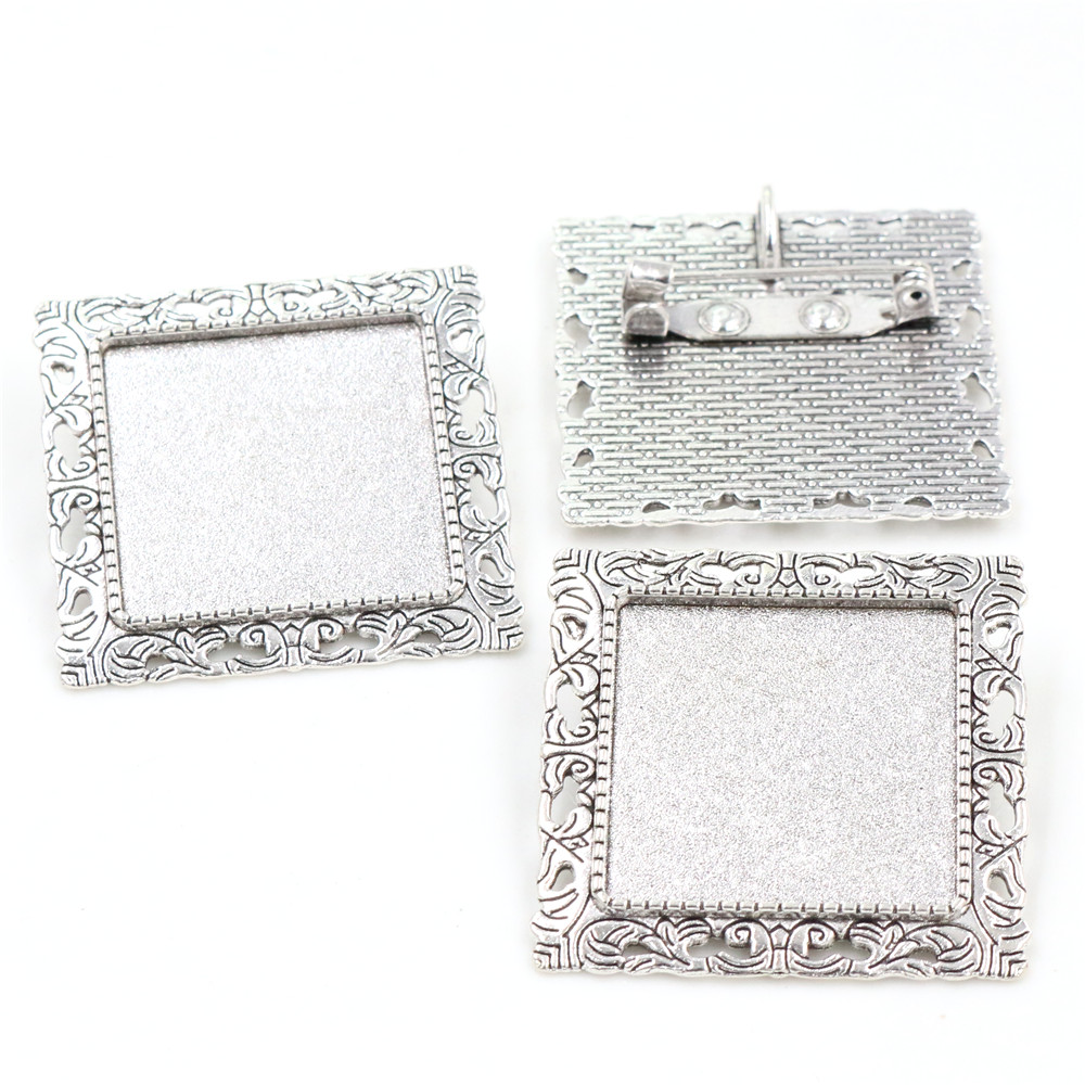New Fashion  2pcs 25mm Inner Size Antique Silver Plated Brooch Square Cabochon Base Setting (A7-26)