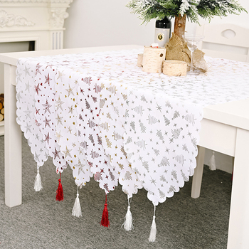 New Year 2021 Merry Christmas Table Runner Bronzing Tassel Tablecloth Xmas Home Decor Caminos De Mesa Modernos Adornos Navidad image