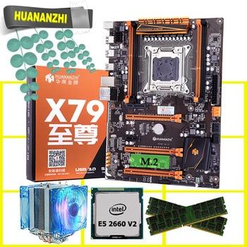 Скидка материнской HUANANZHI deluxe X79 игровой материнской платы с M.2 NVMe слот Процессор Xeon E5 2660 V2 охладитель Оперативная память 16G (2*8G) RECC