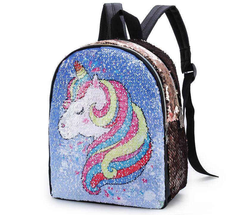 Hot Sale Girl Unicorn Backpack For School Sequins Leather Princess Female Women Teenager Shoulder Bags Mochilas Mujer
